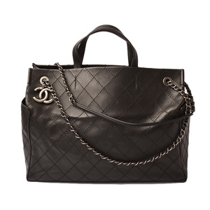 Chanel Tote Bag Shoulder CHANEL Chain Quilted Stitch Black Gunmetal