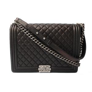 Chanel chain shoulder bag CHANEL boy chanel caviar skin metallic black antique tone