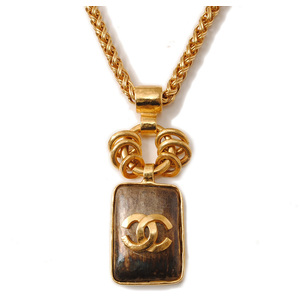 Chanel Long Necklace Pendant CHANEL Coco Mark Vintage Gold