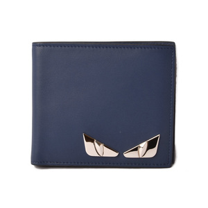 Fendi wallet FENDI folded 7M0169 BUGS Bugseye monster BLUE blue
