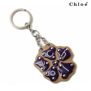 Chloé Chloe key ring holder logo flower dark purple 8HPC40-8H701 466