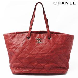Chanel Shoulder Bag Tote CHANEL Quilted Leather Dark Pink Hardware Silver