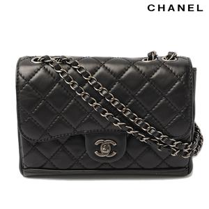 Chanel Chain Shoulder Bag Matrasse CHANEL Leather Black Vintage Silver Hardware