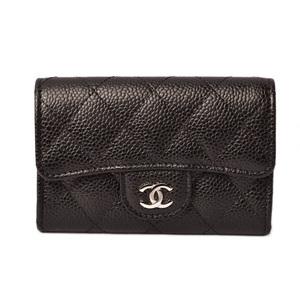 Chanel Coin Case Card CHANEL A 80799 Caviar Skin Black Bordeaux Silver Hardware