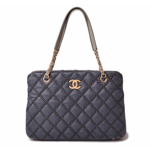 Chanel Shoulder bag Chain tote CHANEL Wild stitch Vintage navy gold metal fittings
