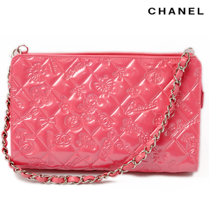 Chanel CHANEL accessory pouch shoulder bag chain icon A37156 patent leather pink