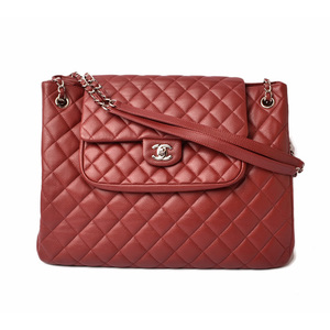 CHANEL Shoulder bag Chain tote 2 way caviar skin dark red silver clasp
