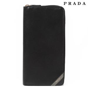 Prada PRADA long wallet travel case 2M1220 SAFFIANO STRIPE Safiano NERO MERCURIsmtb-TK