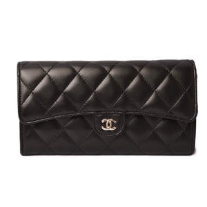 Chanel Wallet CHANEL Long Quilted Matras Lambskin Black Silver Hardware A80758