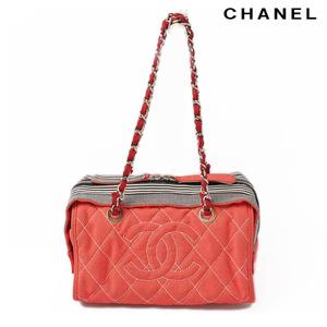 Chanel Shoulder bag CHANEL A47955 denim line chain red navy