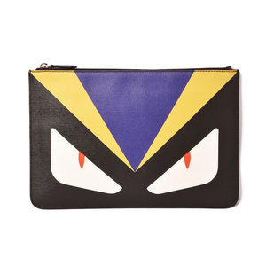 Fendi Clutch Bag Second FENDI Flat Porch 7N0078 1CM Black Mustard Purple