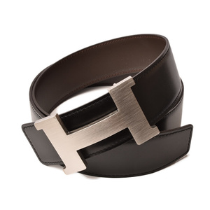 Hermes Belt Men's HERMES Constance Size 85 H Buckle Calf Leather Black Dark Brown