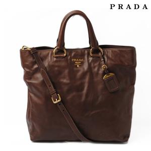 Prada tote bag shoulder PRADA BN1713 SOFT CALF soft calf NOCCIOLO brown 2 way with strap