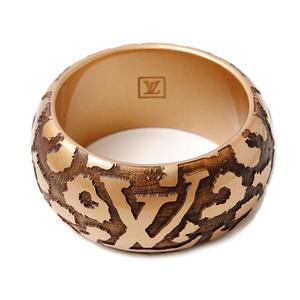 Louis Vuitton bangle bracelet LOUIS VUITTON brass leo monogram leopard print motif gold M65929