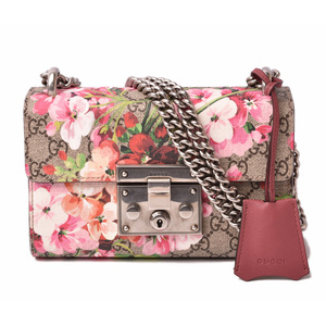Gucci small chain shoulder padlock GUCCI Tian printed silk GG pattern brown beige flower rose 409487