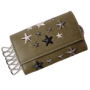 Jimmy Choo Key Case JIMMY CHOO Holder Star Studs HOWICK Army Green Metallic Mix