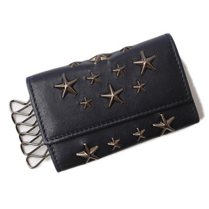 Jimmy Choo Key Case JIMMY CHOO Holder HOWICK Star Studs Ink Gun Metal