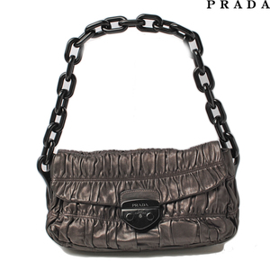 Prada shoulder bag PRADA gather plastic chain metallic brown GRAFITE MORD BR 4050