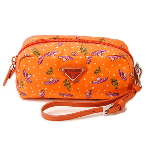 Prada Cosmetic pouch smartphone PRADA TESSUTO TESSTO with hand strap ARANCIO orange multi 1NE175