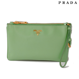 Prada clutch bag flat pouch PRADA 1N1530 Saffiano ACQUAMARINA aqua green with strap