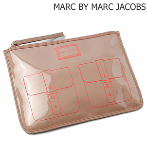 Marc by Marc Jacobs Marc by Jacobs Travel Pouch Clutch Bag WERDIE Fake Art Beige Pink NUDE M3121471 MARC BY JACOBS
