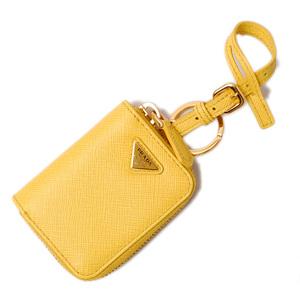 Prada coin case mini pouch PRADA SAFFIANO Safiano strap with key ring SOLE yellow 1TL085