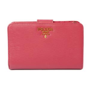 Prada wallet PRADA folding 1ML225 VITELLO MOVE embossed leather PEONIA peonia