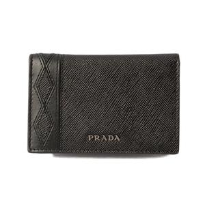 Prada card case business holder PRADA 2MC101 SAFFIANO embossed leather NERO black