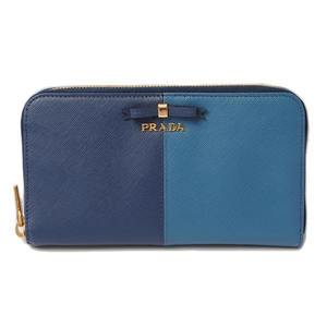 Prada Purse PRADA Long wallet 1M0506 SAFFIANO FIOCCO embossed leather BLUTTE COBA blue system outlet