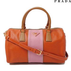 Prada Mini Boston bag Shoulder PRADA BL0649 SAFFIANO FORI Saffiano PAPAYA CARAM 2way