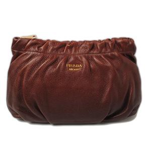 Prada Clutch Bag Travel Pouch PRADA Soft Leather Brown