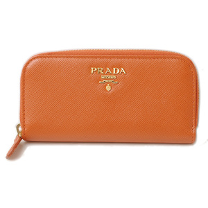 Prada key case PRADA 6 stations 1M0604 SAFFIANO METAL embossed leather PAPAYE papaya