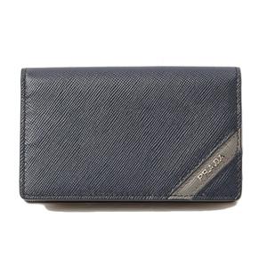 Prada Card Case Business Holder PRADA 2M1122 SAFFIANO STRIPEA Embossed Leather Stripe BALTICO Navy