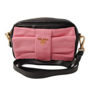 Prada Shoulder bag Clutch PRADA Nappa Ribbon BP0166 NERO GERANIO Black Pink
