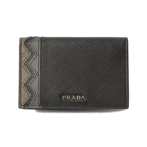 Prada card case business holder PRADA 2MC101 SAFFIANO embossed leather NERO MIMETIC black