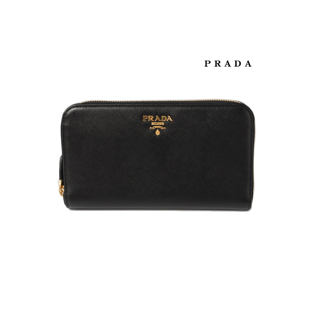 aliexpress picked up large discount Prada wallet PRADA 1M0506 SAFFIANO METAL embossed leather NERO black outlet  | eLady.com