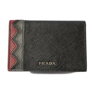 Prada card case business holder PRADA 2MC101 SAFFIANO embossed leather NERO GRANATO black red