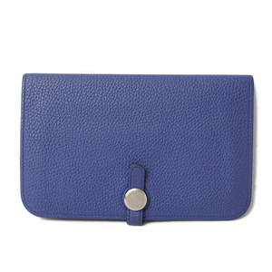 HERMES wallet long dogon GM togo blue system silver metal fittings