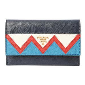 Prada card case folded wallet PRADA 1MC004 SAFFIANO GRECHE embossed leather BALTICO ROSSO navy red