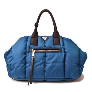 Prada tote bag shoulder PRADA test bomber blue quilting