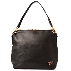 Prada shoulder bag tote PRADA VIT.DAINO soft calf 2way with strap NERO black