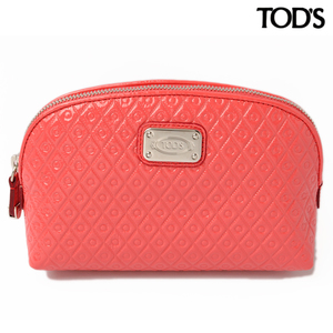 Tods Cosmetic Pouch Travel TOD'S Patent Leather Coral Orange YAWGOSHO200KOKM611