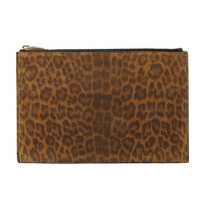 Saint Laurent Paris clutch bag flap pouch SAINT LAURENT leopard print suede brown 375950