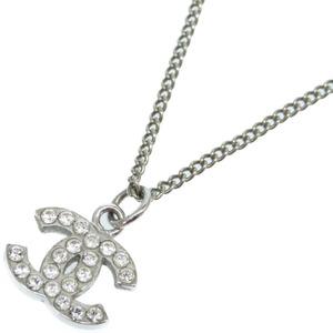 Chanel Cocomark Rhinestone Necklace Accessory Silver 0314 CHANEL Ladies
