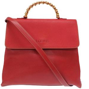 Loewe twist vintage leather red handbag 2way with strap 0319 LOEWE