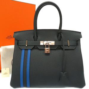 Hermes Birkin 30 Officier Togo Swift Vale Cypress Blue Jelly C Engraved (made in 2018) Handbag Bag Green 0124 HERMES Officer
