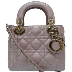 Christian Dior Lady Canage 2way Mini Handbag Bag Pink 0297 Christian