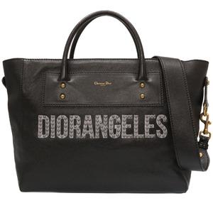 Christian Dior DIORANGELES 2way Tote Bag Black Leather 0127 Christian