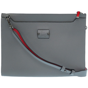 Christian Louboutin Sky Pouch 2WAY Leather Studs Clutch Bag Shoulder Gray 0323 Christian