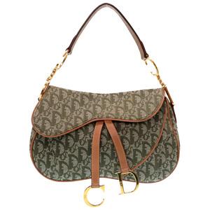 Christian Dior Trotter Saddle Bag Pouch Vintage Shoulder Green 0318 Christian